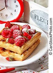 Belgian waffle. - Delicious Belgian waffle with fresh...