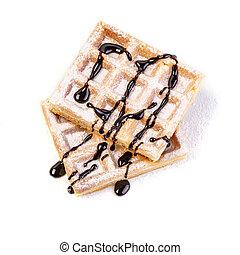Belgian Waffle isolated - Belgian waffles with chocolate ...