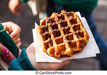 Belgian waffle - Typical belgian waffle in the street, ready...