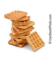Belgian Waffle - Stack of Delicious Belgian Waffle isolated...