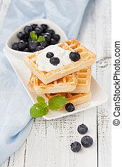 Belgian waffle - Delicious Belgian waffle with fresh berries...