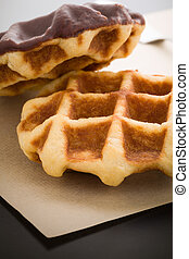 Belgian Waffle - Waffle coated with chocolate as snack for...