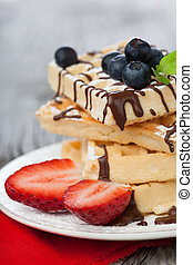 Belgian waffle - Delicious Belgian waffle with fresh berries...