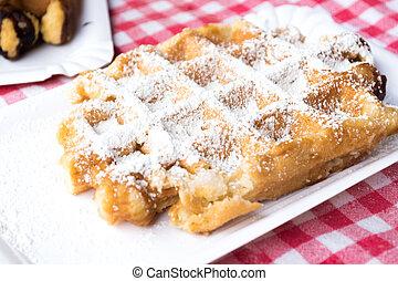 Belgian Waffle - Traditional Belgian Plain Waffle Dusted...