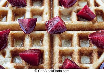 Belgian Waffle - Golden round waffle with hone and fresh...