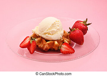 belgian waffle, strawberry and ice cream