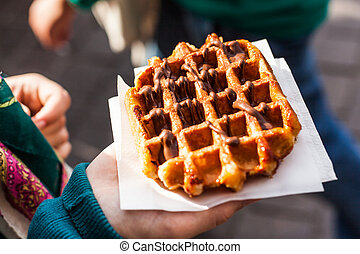 Belgian waffle - Typical belgian waffle in the street, ready...