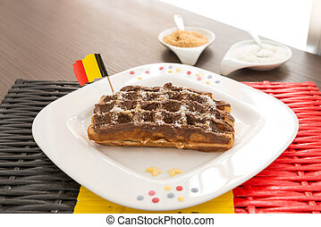 Belgian waffle with chocholate cream. Selective focus,...