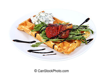 Belgian waffle with cream cheese and roasted Bulgarian...