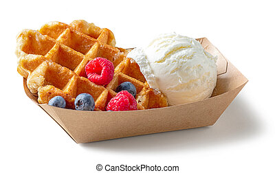 belgian waffle with fresh berries and vanilla ice cream