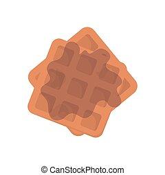 Belgian Waffle with honey on white background. Stock Vector illustration.