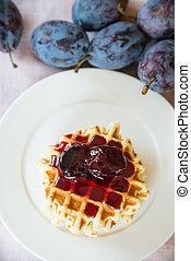 Belgian waffle with jam - Belgian waffle with plum jam
