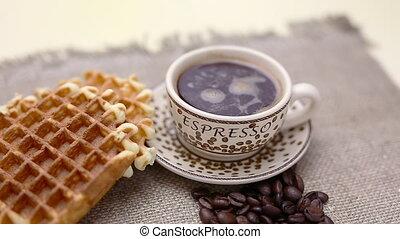 Belgian waffles and coffee - Belgian waffles for breakfast...