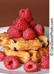 belgian waffles and raspberries - belgian waffles and fresh...