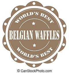 Belgian Waffles - Label with text Belgian Waffles,vector...