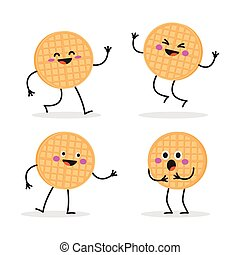 Belgian waffles or viennese waffles. Funny smiling cute waffle.