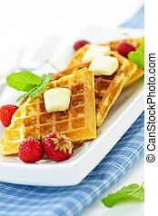 Belgian waffles - Plate of belgian waffles with fresh...