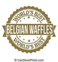 Belgian Waffles stamp - Grunge rubber stamp with the text...