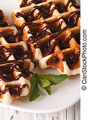 Belgian waffles topped with chocolate macro on a plate. ...