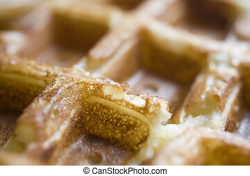 Belgian Waffles: Up Close and Personal - Photo of a Belgian...