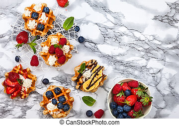 Belgian waffles with berries - Delicious Belgian Waffles...
