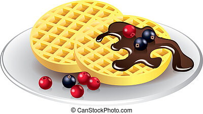 belgian waffles with chocolate and berries photo realistic vector