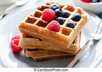 Belgian waffles with fresh berries