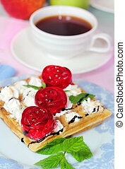 belgian waffles with fruit jelly
