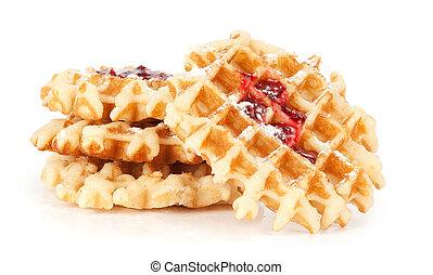 belgian waffles with raspberry jam
