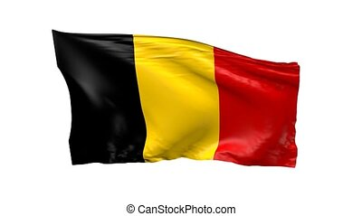 Waving flag of Belgium, 3d animation