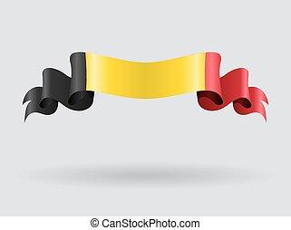 Belgian wavy flag. Vector illustration. - Belgian flag wavy...