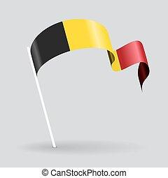 Belgian wavy flag. Vector illustration. - Belgian pin icon ...