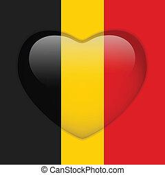 belgie, hart, vlag, glanzend, knoop