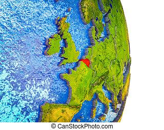 belgie, kaart, 3d, aarde