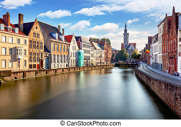 belgie, kanalen, brugge, ondergaande zon