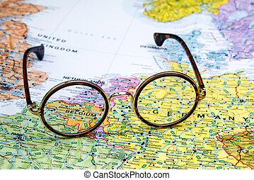 belgie, mapa, brýle, evropa