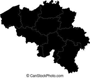 belgien, karta, svart