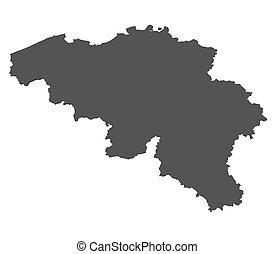 belgien, landkarte, -, freigestellt