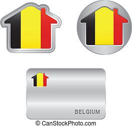 belgio, casa, bandiera, icona