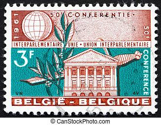 belgio, -, circa, 1961:, uno, francobollo, stampato, in, il,...
