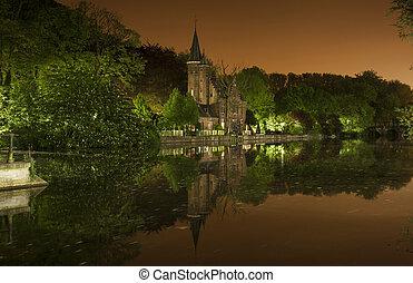 belgio, minnewaterpark, bruges, notturno, vista