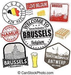 belgio, viaggiare, set, francobolli
