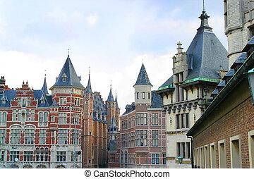 belgique, anvers, typique, architecture, flamand