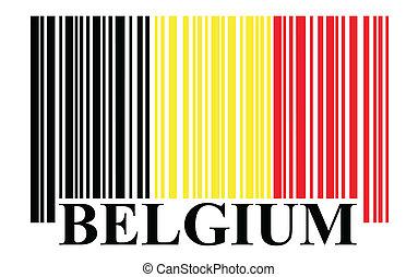 belgique, barcode, drapeau, vecteur