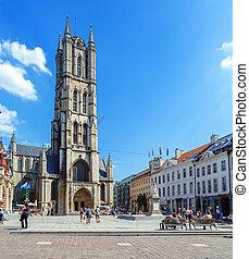 belgique, bavo, saint, cathédrale, gand