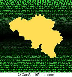 belgique, carte, code, binaire