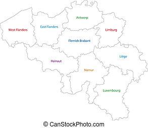 belgique, carte, contour