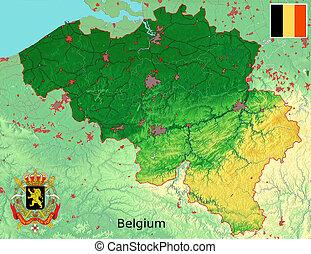 belgique, carte, drapeau, manteau