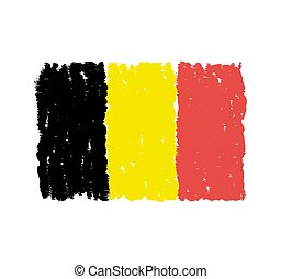 belgique, dessiné, drapeau, main