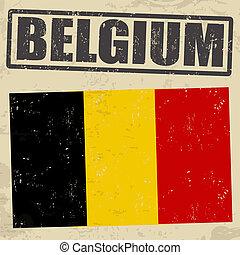 belgique, timbre, drapeau, grunge